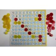 Joc matematic. Inmultirea - cu jetoane colorate transparente si 2 zaruri