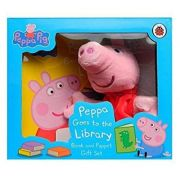 Peppa Pigg Goes to the Library Book and Puppet Gift Set