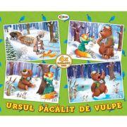 Puzzle Ursul pacalit de vulpe. 4 imagini