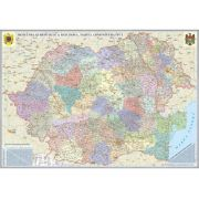Romania si Republica Moldova. Harta administrativa (700x500mm), fara sipci (GHRA70-L)