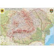 Romania si Republica Moldova. Harta fizica, administrativa si a substantelor minerale utile, 2000x1400 mm, fara sipci (GHR2CD2-L)