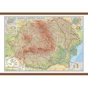 Romania si Republica Moldova. Harta fizica, administrativa si a substantelor minerale utile 1000x700 mm (GHRF100)