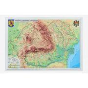 Romania si Republica Moldova. Harta fizica si administrativa - proiectie 3D, 450x330mm (3DGHRF430)