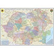 Romania si Republica Moldova. Harta administrativa, 2000x1400 mm, fara sipci (GHR7CD2-L)