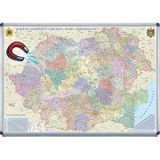Romania si Republica Moldova. Harta administrativa 1400x1000mm - Harta magnetica pe suport rigid (GHR5CD-OM)