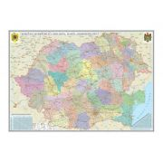 Romania si Republica Moldova. Harta administrativa /Harta de contur (verso), 600x470 mm, fara sipci (GHRA60)