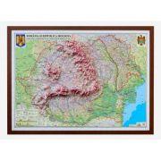Romania si Republica Moldova. Harta fizica, administrativa si a substantelor minerale utile, proiectie 3D 1400x1000mm (3DGHRCD1400)