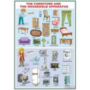 The furniture and the household apparatus/Word order (DUO) - Plansa viu colorata, cu 2 teme distincte