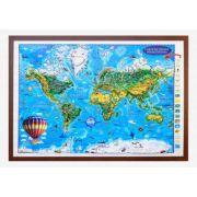 Carte de monde pour enfants, projection 3D, 1400x1000mm (3DGHLCP-FR)