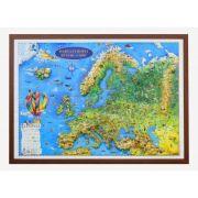 Harta Europei pentru copii, proiectie 3D, 1000x700m (3DGHECP100)