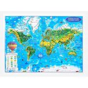 Harta Lumii pentru copii, proiectie 3D, format A3 (3DGHLCP430)