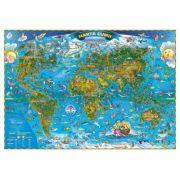 Harta lumii pentru copii 1000x700 mm, fara sipci (GHLCP100-L)