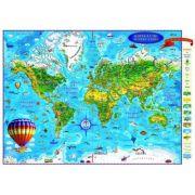 Harta lumii pentru copii 2000x1400 mm, fara sipci (GHLCP200-L)