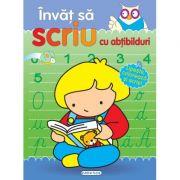 Invat sa scriu cu abtibilduri: cuvinte, litere, numere si ore. Lipeste, coloreaza si scrie!