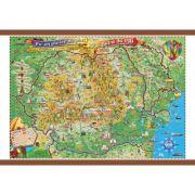 Pe-un picior de plai, pe-o gura de rai, 1000x700mm - Harta Romaniei pentru copii (GHPLAI-100)