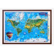 Weltkarte fur kinder, Reliefkarte 3D-Format, 1400x1000mm (3DGHLCP-DE)