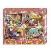 Puzzle Capra cu trei iezi. 4 imagini