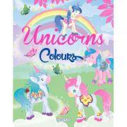 Carte de colorat. Unicorns Colours - verde