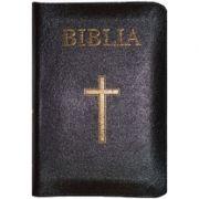 Biblia foarte mica, 043, coperta piele, neagra, cu cruce, margini aurii, repertoar, fermoar