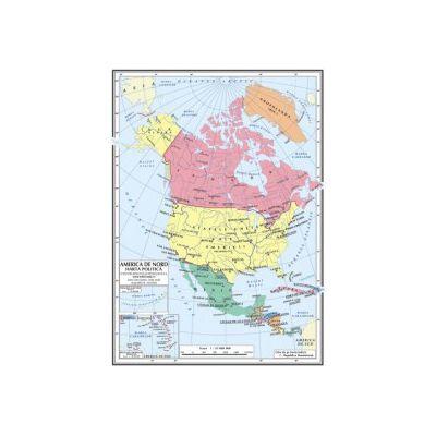 Harta de America de Nord A4 - plastifiata