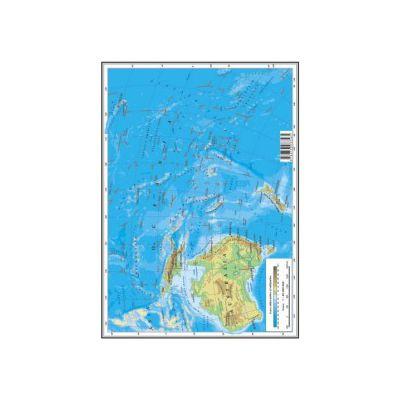 Harta Oceania, Australia, Antarctica, Artica A4 - plastifiata