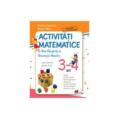 Activitati matematice cu Rita Gargarita si Greierasul Albastru - (caiet) grupa mica 3-4 ani