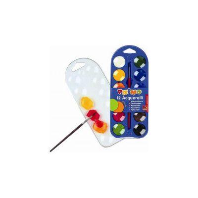 Acuarele Morocolor cu pensula, diametru pastila 25mm, 12 culori/set (MC15401)