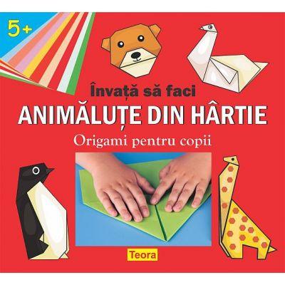INVATA SA FACI ANIMALUTE DIN HARTIE- Origami pentru copii- varsta 5+ de Diana Rotaru (1402)