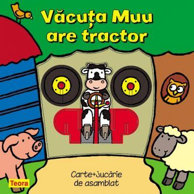 Vacuta Muu are tractor - pagini cartonate cu jucarie (6856)