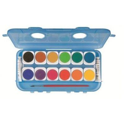 Acuarele Morocolor cu pensula, diametru pastila 30mm, 2 tuburi albe, 12 culori/set (MC15572)