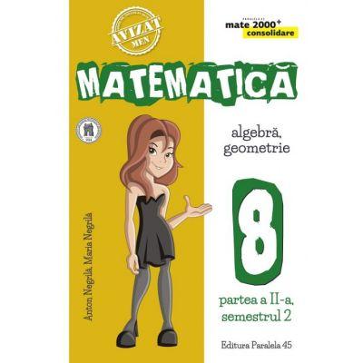 Matematica 2000 Consolidare. Caiet de lucru pentru Clasa a VIII-a. Semestrul II Aritmetica, Algebra, Geometrie