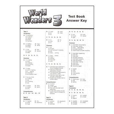 World Wonders 3 Test book Answer Key - Michele Crawford