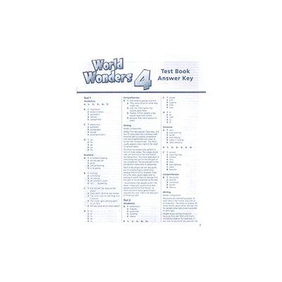 World WONDERS 4 Test Book Answer Key - Katy Clements