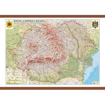 Romania si Republica Moldova. Harta fizica, administrativa si a substantelor minerale utile 1400x1000 mm (GHRCD)