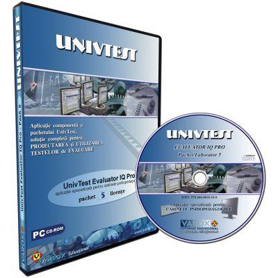 UnivTest Evaluator IQ Pro. Aplicatie specializata pentru cabinete psihopedagogice. Pachet 5 licente. CD