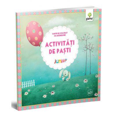 Activitati de Pasti - Junior Plus - Carte de colorat cu abtibilduri