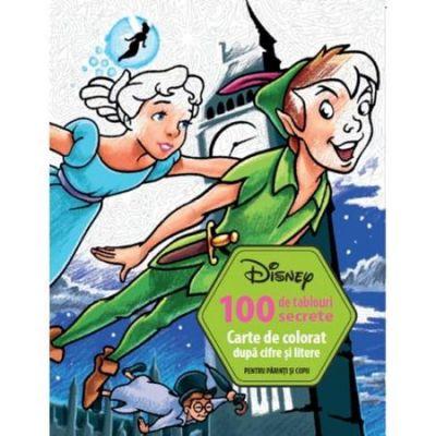100 de Tablouri Secrete. Carte de Colorat dupa Cifre si Litere - Disney