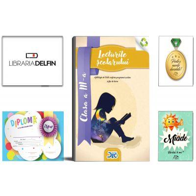 Pachet DZC: Lecturile scolarului, clasa 3-a (contine itemi pentru verificarea cunostintelor)-Editura DZC, Miade (Contribuie la cresterea fluentei in citire) Diploma si Medalie.
