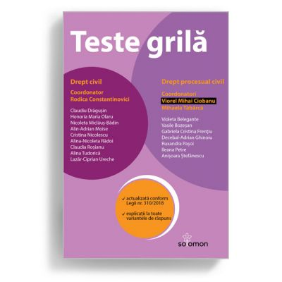 Teste grila. Drept civil • Drept procesual civil - MIHAELA TABARCA, RODICA CONSTANTINOVICI