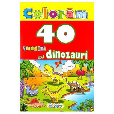 Coloram 40 de imagini cu dinozauri
