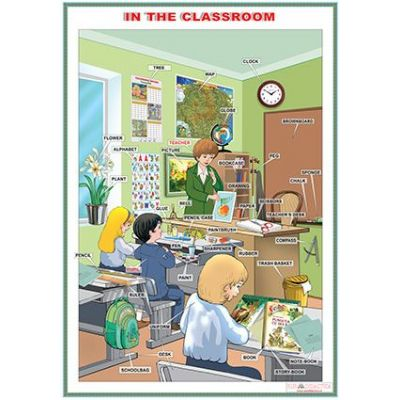 In the classroom /In the city (DUO) - Plansa viu colorata, cuprinzand 2 teme distincte