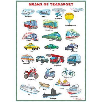 Means of transport/My schoolbag (DUO) - Plansa viu colorata, cu 2 teme distincte