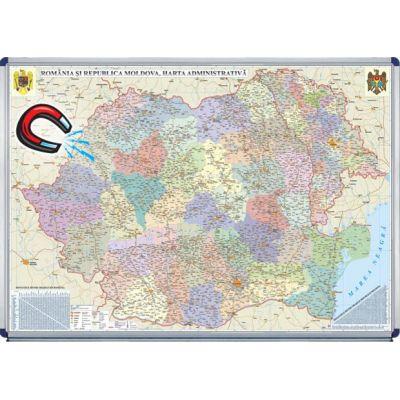 Romania Si Republica Moldova Harta Administrativa 1600x1200mm
