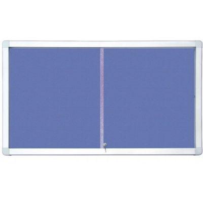 Avizier securizat, geam glisant si suprafata din material textil, 970x700 mm (AZGT18A4PD)