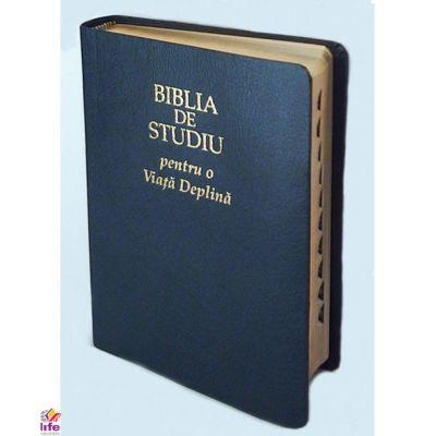 Biblia de studiu pentru o viata deplina. Editia de lux, coperta piele neagra, index, LPI157