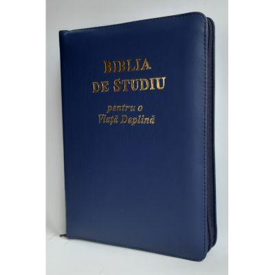 Biblia de studiu pentru o viata deplina. Editie de lux, coperta piele bleumarin cu fermoar, aurie, index de cautare, LPI166
