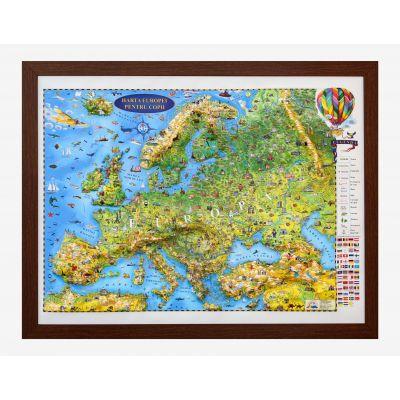 Harta Europei pentru copii, proiectie 3D, 600x470mm (3DGHECP60)