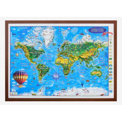 Harta Lumii pentru copii, proiectie 3D, 1400x1000mm (3DGHLCP)