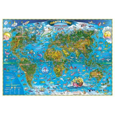 Harta lumii pentru copii 1400x1000 mm, fara sipci (GHLCP-L)