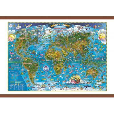 Harta lumii pentru copii 700x500mm, cu sipci (GHLCP70)